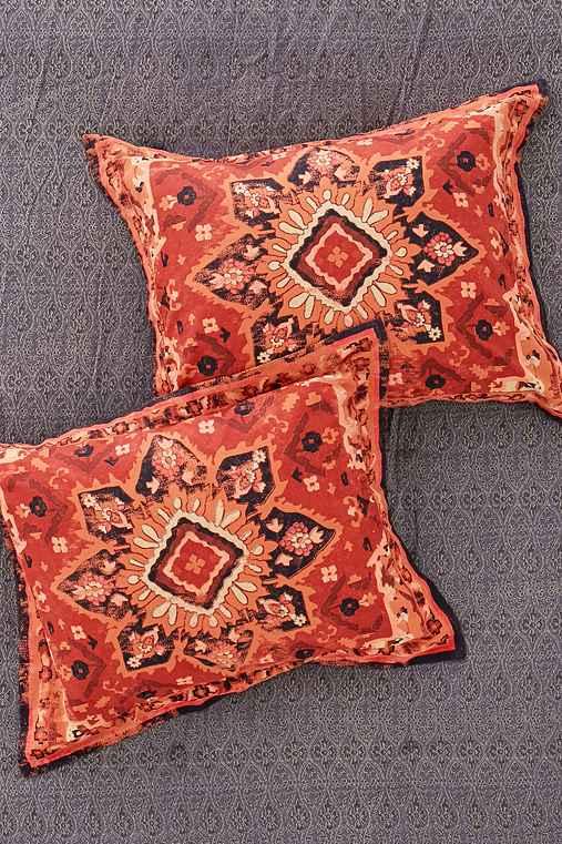 Berna Worn Carpet Sham Set,RED,ONE SIZE
