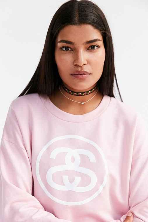 Stussy Logo Link Pullover Sweatshirt,PINK,L
