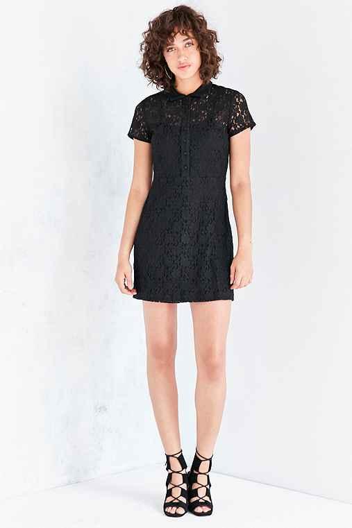 Kimchi Blue Lace Mini Shirt Dress,BLACK,4