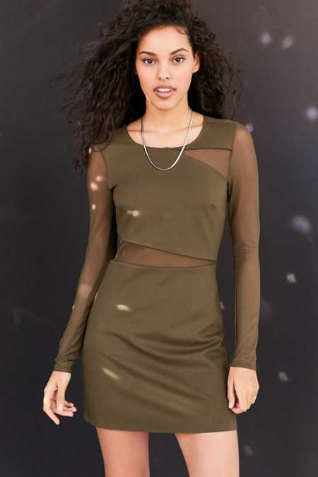 Silence + Noise Lightning Mesh Cutout Mini Dress