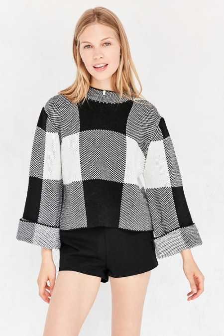 Paper Crane Plaid Mock-Neck Sweater