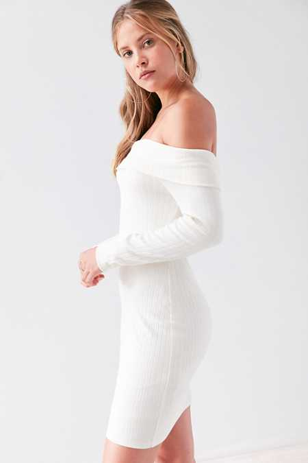 Silence + Noise Lauralie Off-The-Shoulder Ribbed Mini Dress