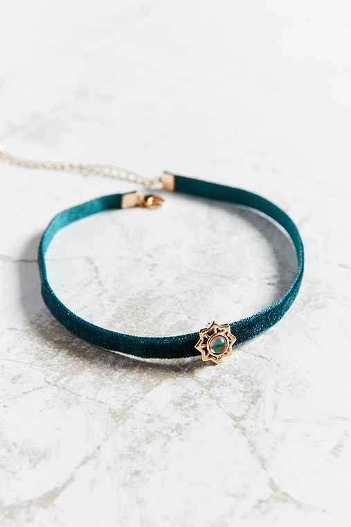 Emme Star + Stone Choker Necklace,GREEN,ONE SIZE
