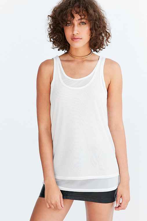 Silence + Noise Selda Double Layer Mesh Tank Top,IVORY,L