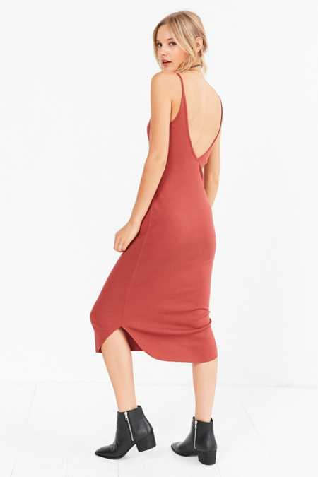 Sparkle & Fade Ribbed Knit Bodycon Midi Slip Dress
