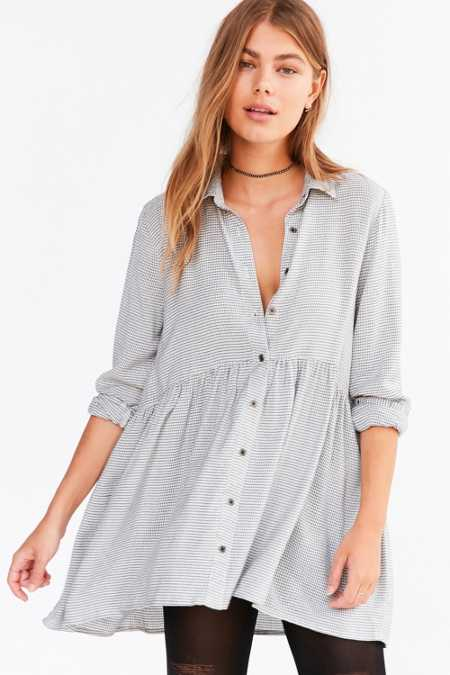 Kimchi Blue Dusk Button-Down Babydoll Tunic Top