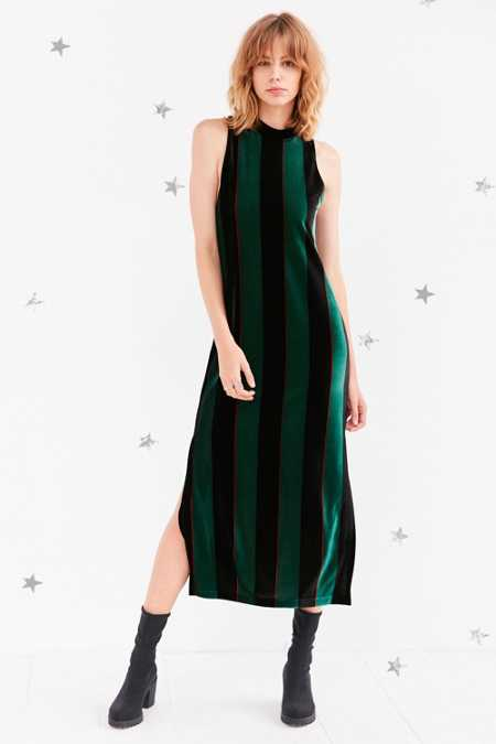 Silence + Noise Madison Striped Velvet Mock-Neck Maxi Dress