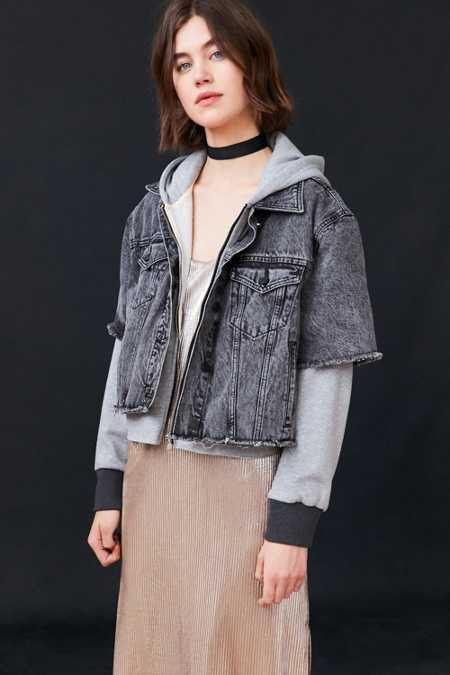 BDG Layered Hoodie Denim Jacket