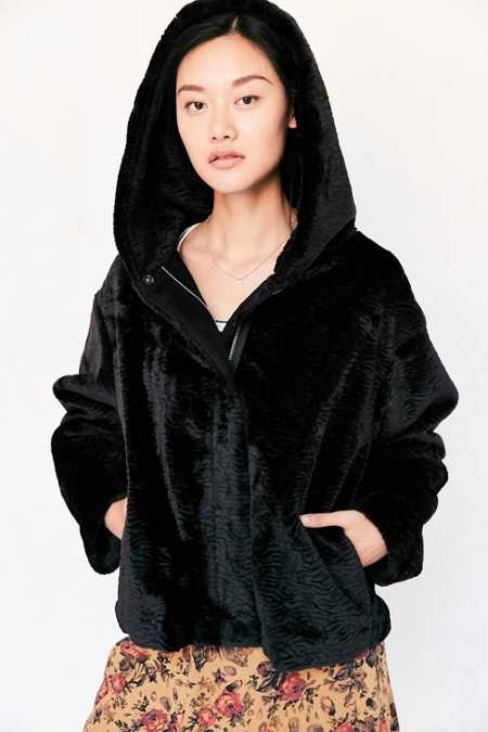 Silence + Noise Faux Fur Hooded Bomber Jacket