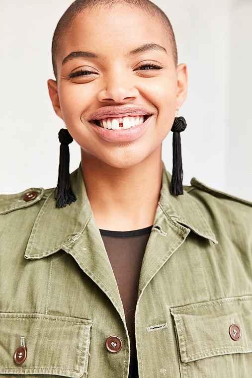 Vanessa Mooney Astrid Knotted Tassel Earring,BLACK,ONE SIZE