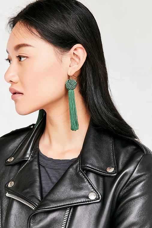 Vanessa Mooney Astrid Knotted Tassel Earring,GREEN,ONE SIZE