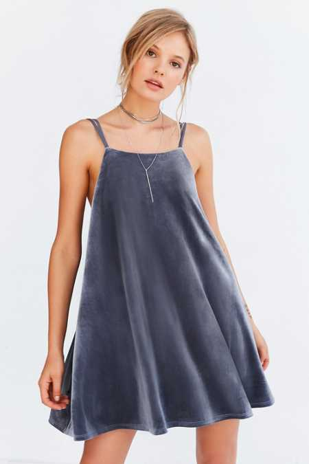 Kimchi Blue Velvet Strappy-Back Mini Frock Dress