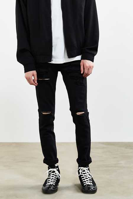 Dr. Denim Black Ripped Snap Skinny Jean