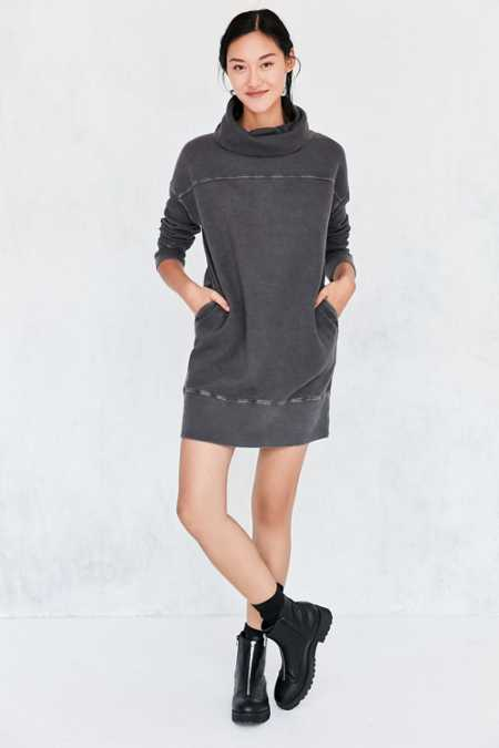 Silence + Noise Washed Turtleneck Sweatshirt Mini Dress