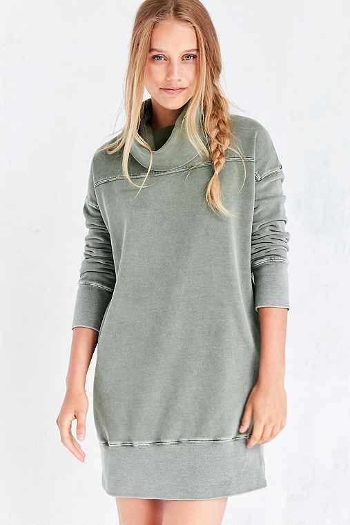 Silence + Noise Washed Turtleneck Sweatshirt Mini Dress,OLIVE,XS