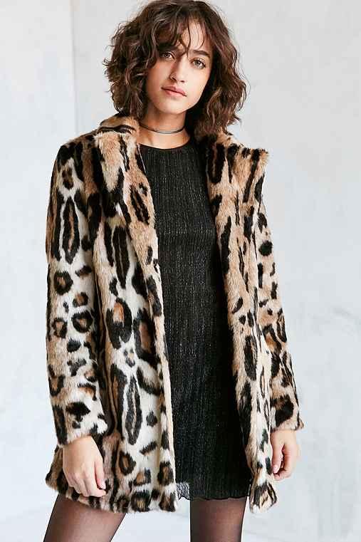Glamorous Leopard Faux Fur Coat,BROWN MULTI,L