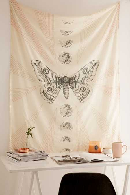 Moth Moon Embroidered Tapestry