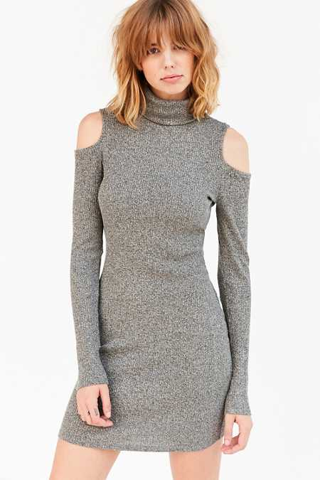 Silence + Noise Cold Shoulder Turtleneck Bodycon Mini Dress