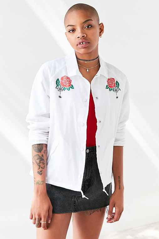 OBEY Spider Rose Coach Jacket,WHITE,S