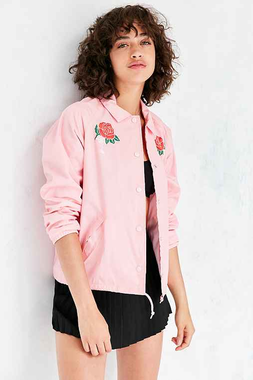 OBEY Spider Rose Coach Jacket,PINK,XS