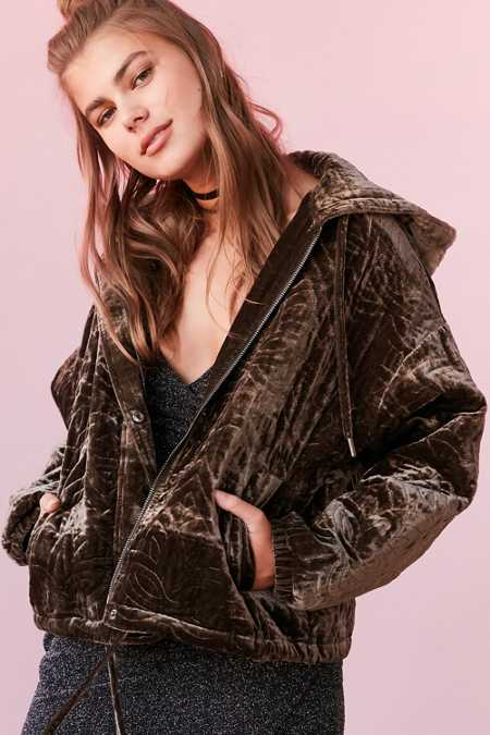 Silence + Noise Geo Quilted Velvet Hooded Jacket