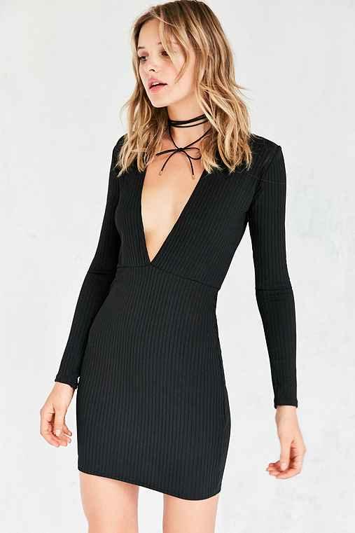 Motel Lynette Plunging Ribbed Mini Dress,BLACK,XS
