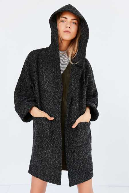 BDG Alessi Boucle Relaxed Hooded Coat