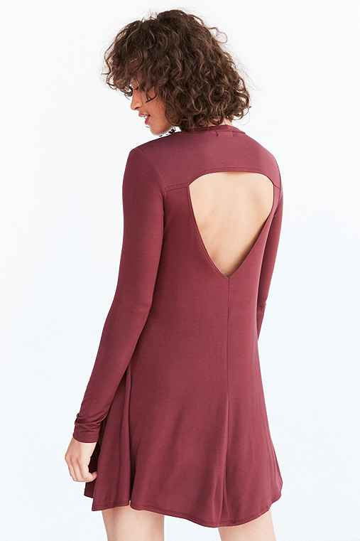 Silence + Noise Long-Sleeve Cutout Back T-Shirt Dress,MAROON,XS