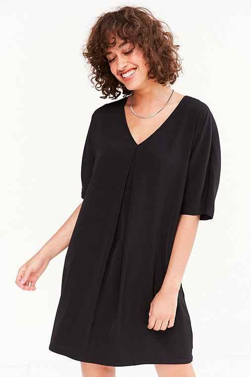Silence + Noise Pleat-Front Cocoon Mini Dress,BLACK,S