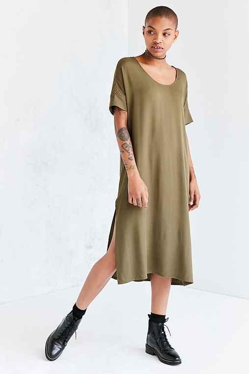 Silence + Noise Dolman Woven Midi T-Shirt Dress,OLIVE,XS