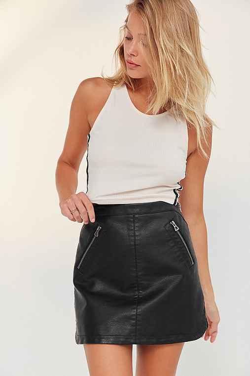 Silence + Noise Vegan Leather Biker Mini Skirt,BLACK,M