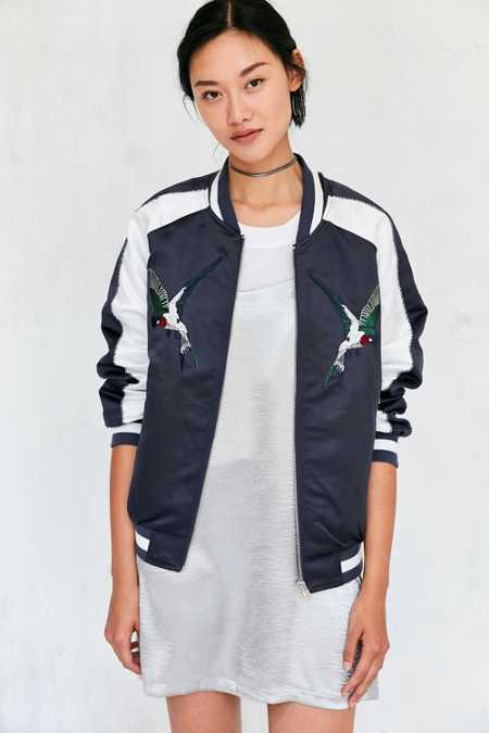 Silence + Noise Birds Of Paradise Embroidered Bomber Jacket