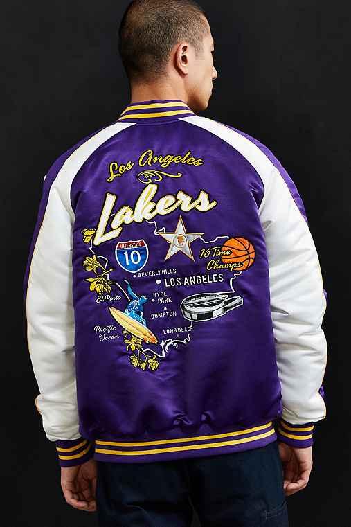 Starter X UO NBA Los Angeles Lakers Souvenir Jacket,PURPLE,XS