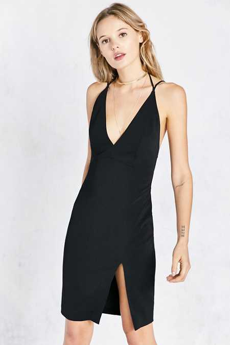 ASTR Evelyn Deep-V Side-Slit Bodycon Mini Dress