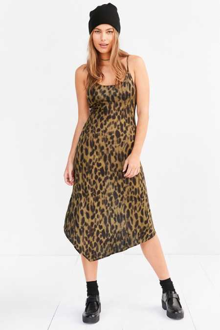 Silence + Noise Axel Leopard Bias-Cut Midi Slip Dress
