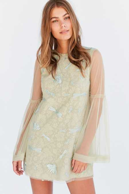 Kimchi Blue Soft Landing Embroidered Mesh Lace Mini Dress