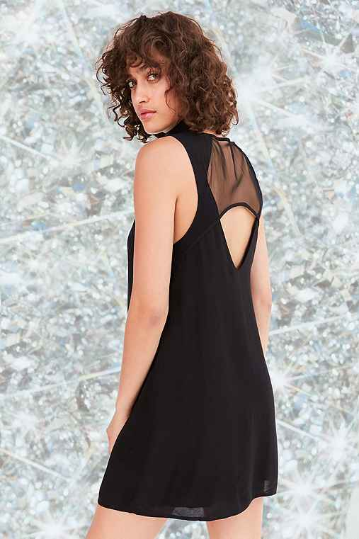 Silence + Noise Mesh Shift Mini Dress,BLACK,L