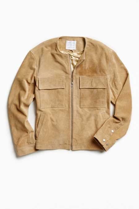 UO Collarless Suede Jacket