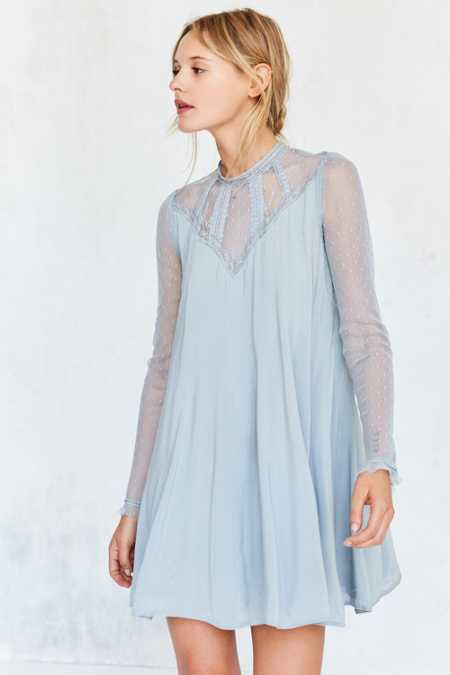 Kimchi Blue Constance Embroidered Mesh Mock-Neck Frock Dress