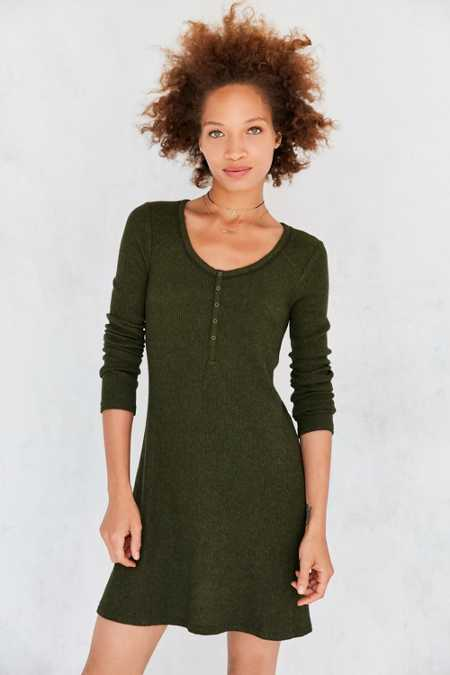 BDG Samual Cozy Henley Long-Sleeve Mini Dress