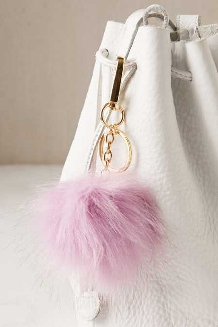 Light-Up Faux Fur Pom Pom Keychain