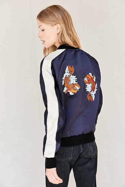 Urban Renewal Recycled Embroidered Satin Bomber Jacket,NAVY,L