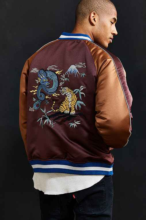 UO Embroidered Dragon Souvenir Jacket,MAROON,L