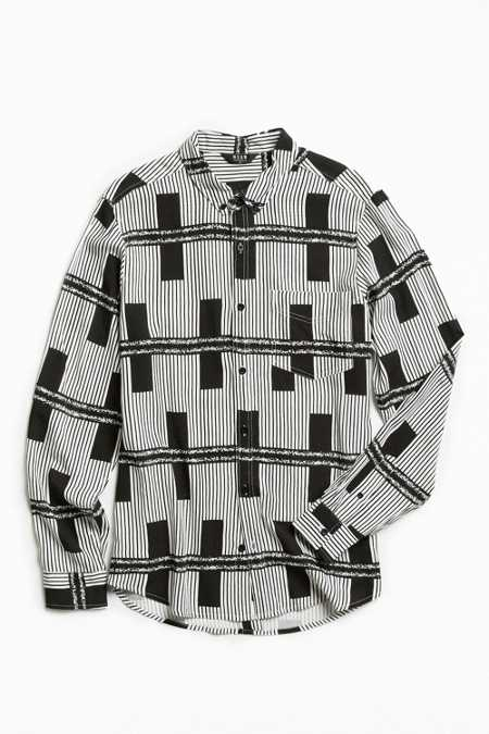 Neuw Black Lines Rayon Button-Down Shirt