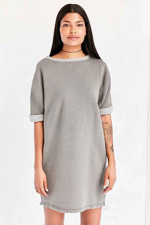 Silence + Noise Dax Dolman Sweatshirt Mini Dress,GREY,M