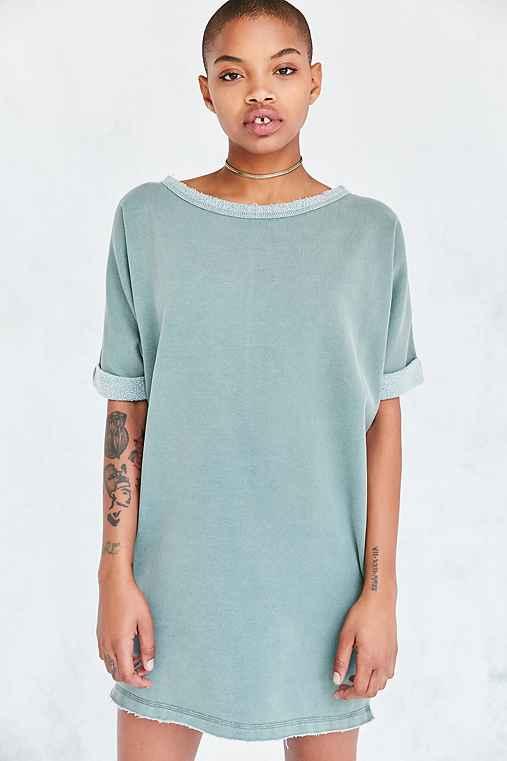 Silence + Noise Dax Dolman Sweatshirt Mini Dress,GREEN,L
