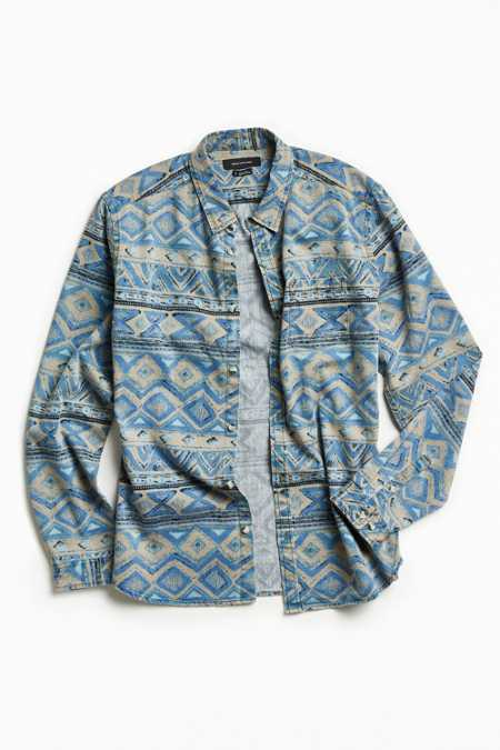 UO Denim Blanket Stripe Button-Down Shirt