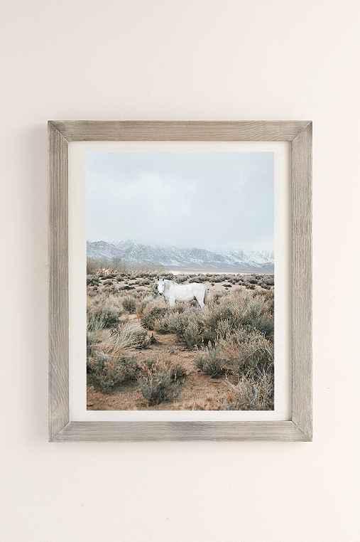 Rodrigo Trevino Desert Horse Art Print,GREY BARNWOOD FRAME,40X60