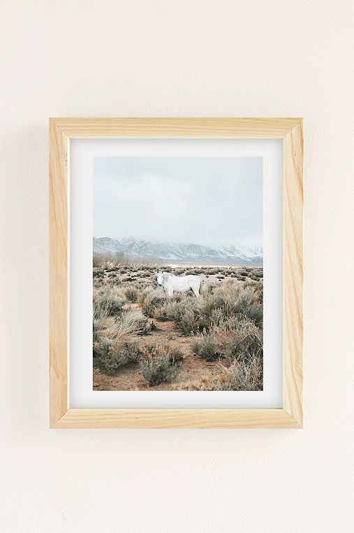 Rodrigo Trevino Desert Horse Art Print,NATURAL WOOD FRAME,13X19