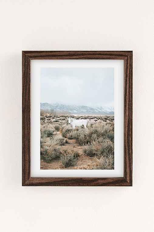 Rodrigo Trevino Desert Horse Art Print,WALNUT WOOD FRAME,18X24